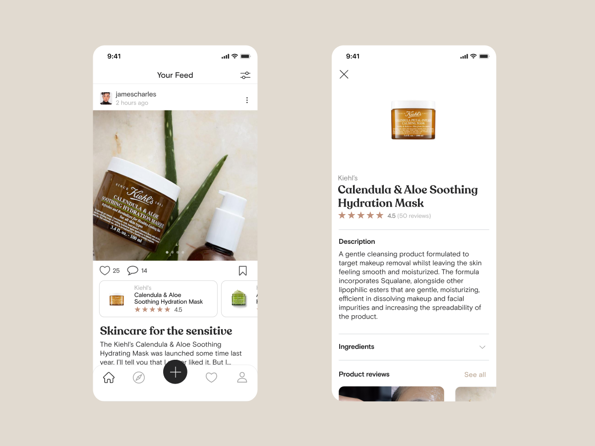 1. User's feed that they can also adjust with the filter preferences to find popular and time-constrained posts; 2. Product info page