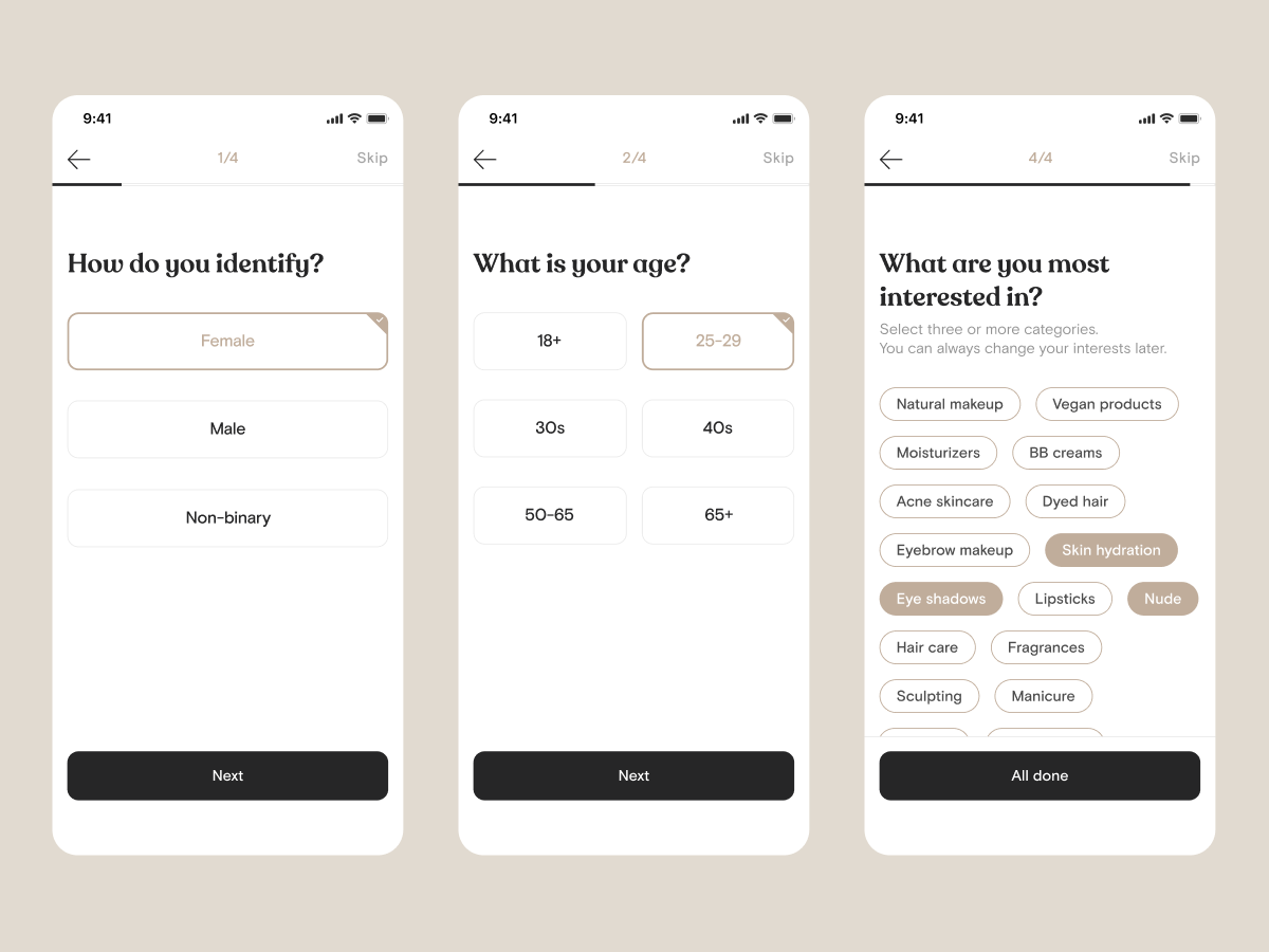 Short onboarding process to gather the essential info about the user and improve their recommendations