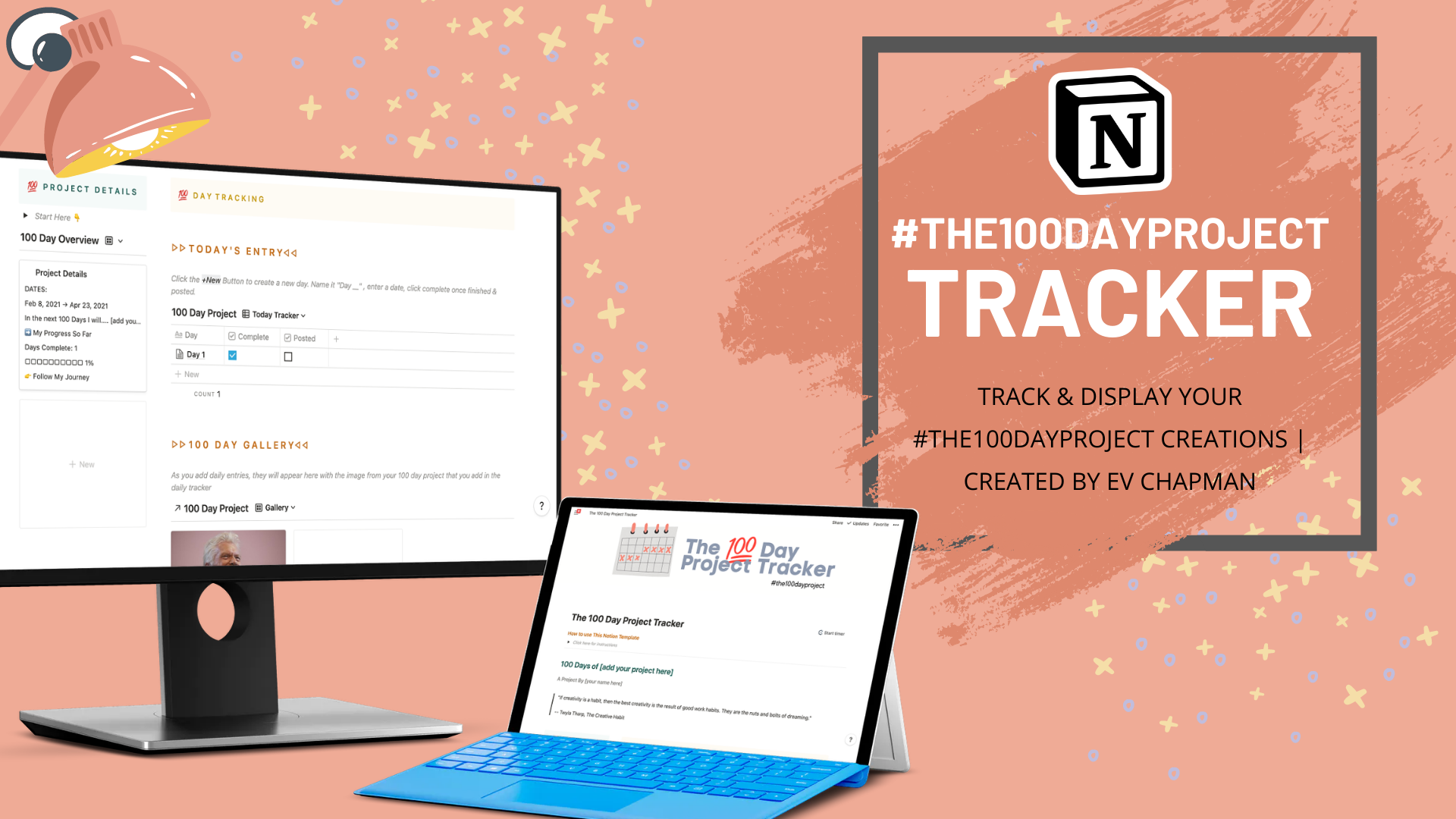 #the100dayproject Tracker & Gallery Notion Template