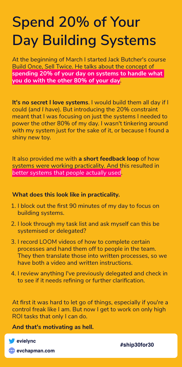 Day 15: Spend 20% Of Your Day Building Systems