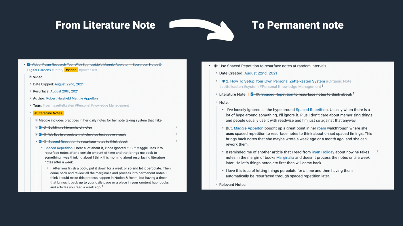 How my literature note started compared to how it finished in my permanent note