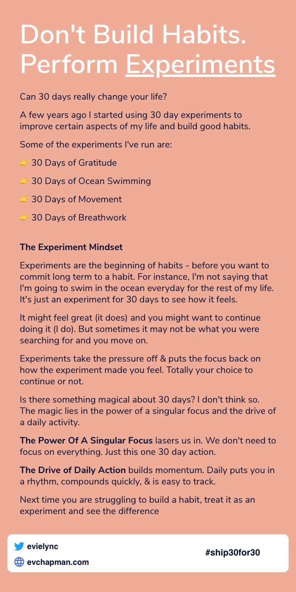 Day 3: Don't Build Habits. Perform Experiments
