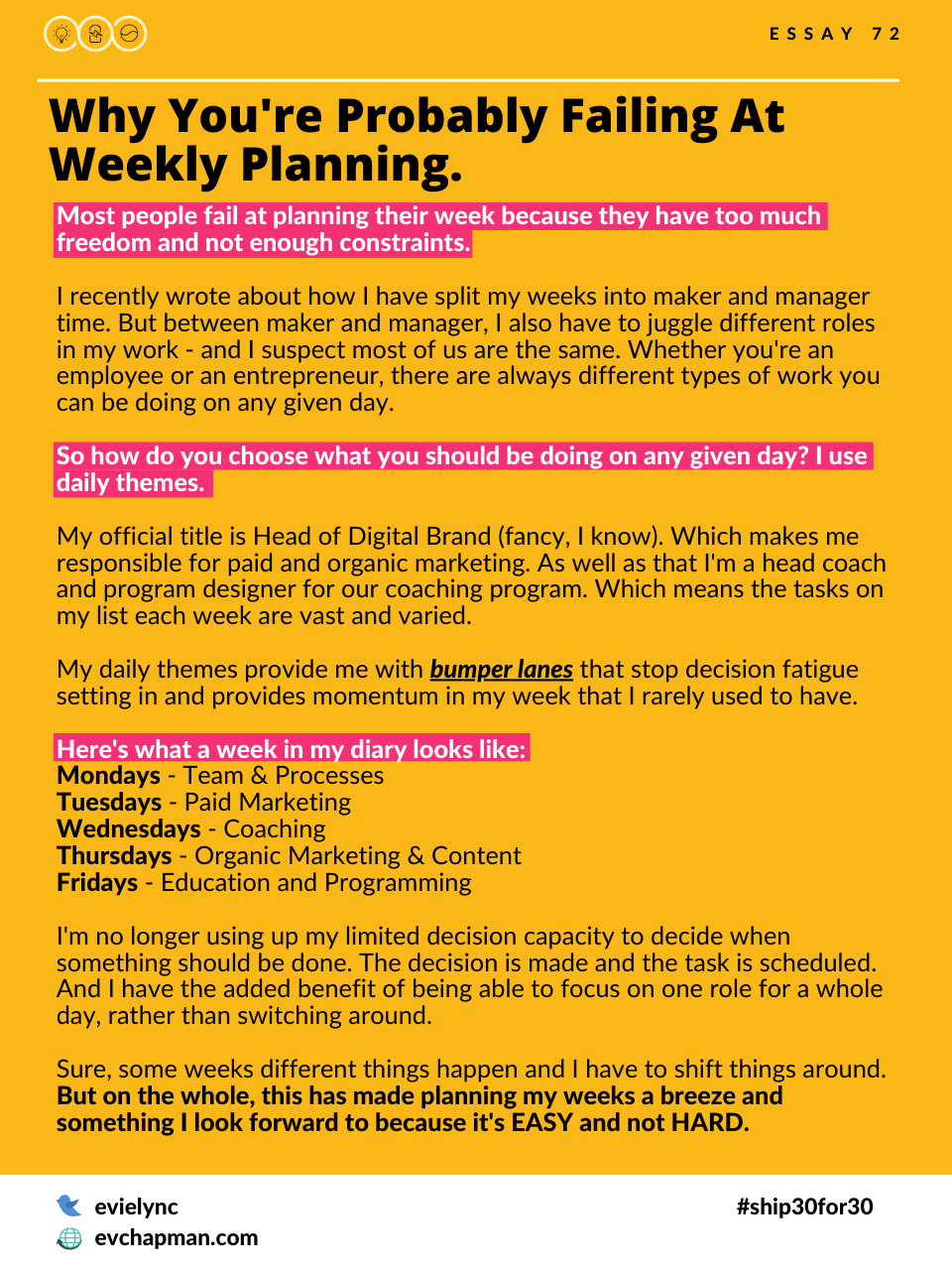 Why You're Probably Failing At Weekly Planning