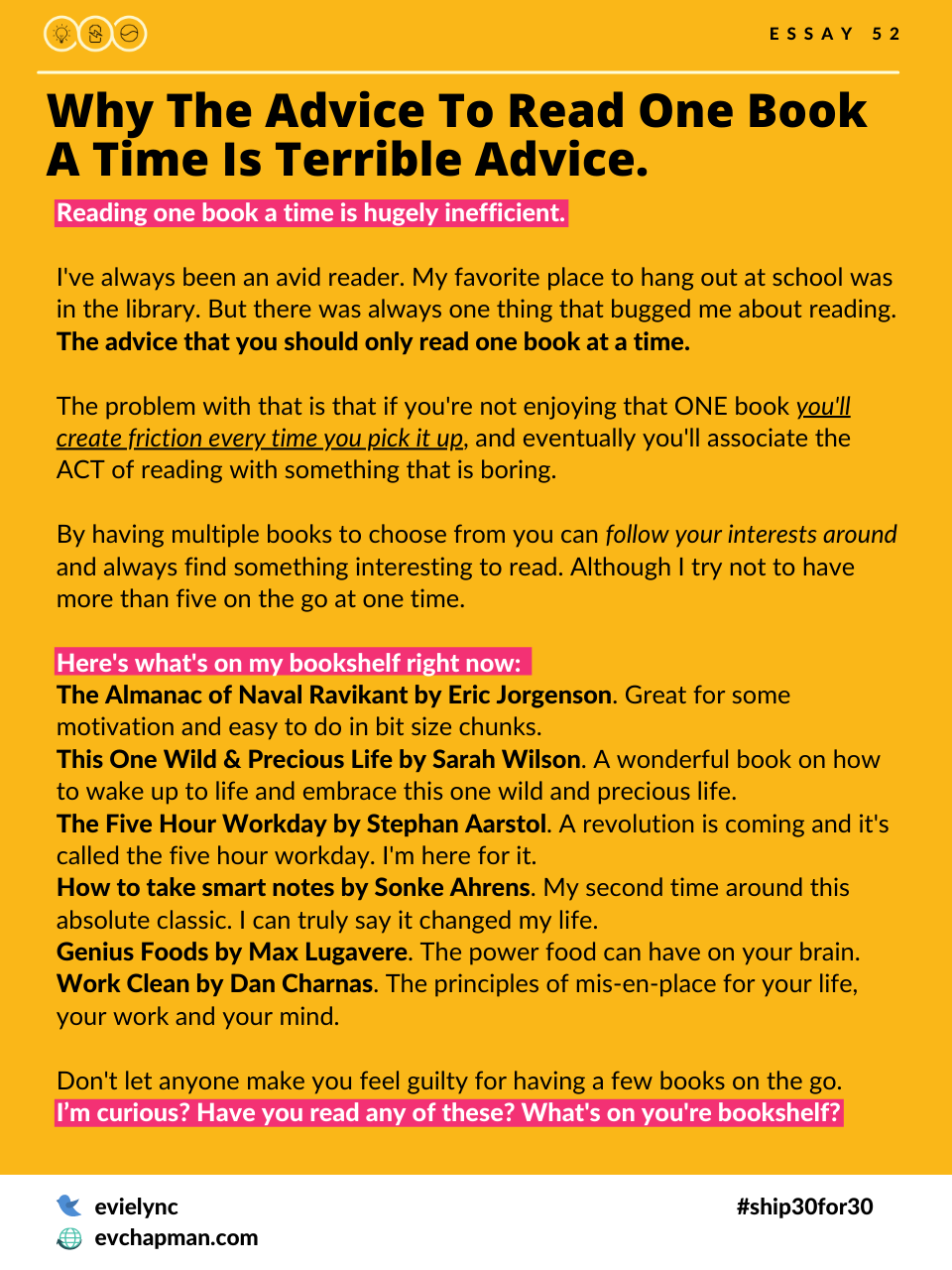Why The Advice To Read One Book A Time Is Terrible Advice.