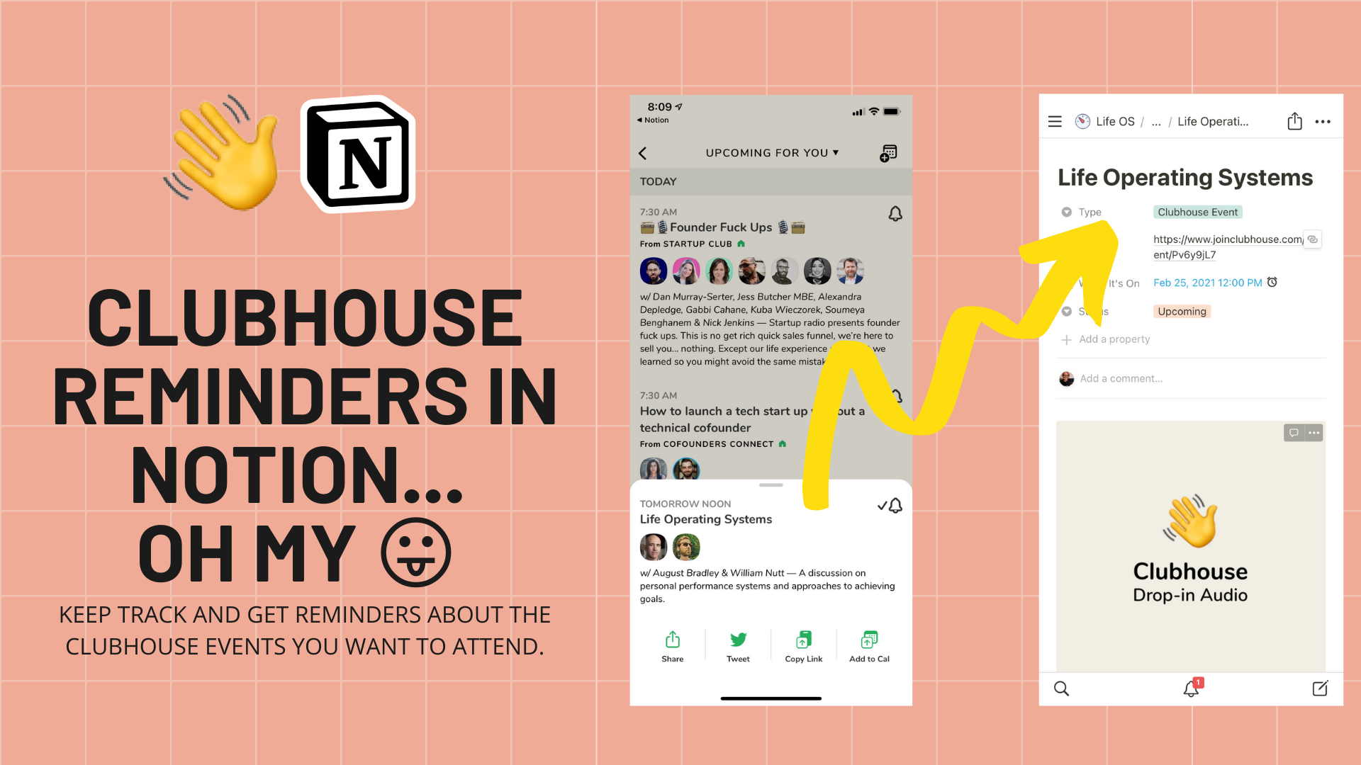 Get Clubhouse Event Reminders in Notion