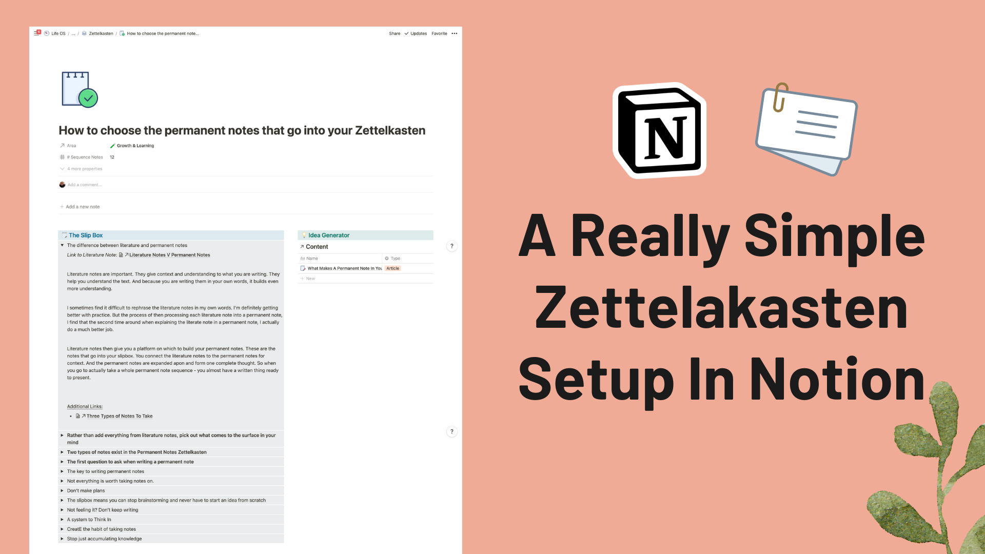 A Really Simple Notion Zettelkasten Setup To Generate New Content Ideas Easily.