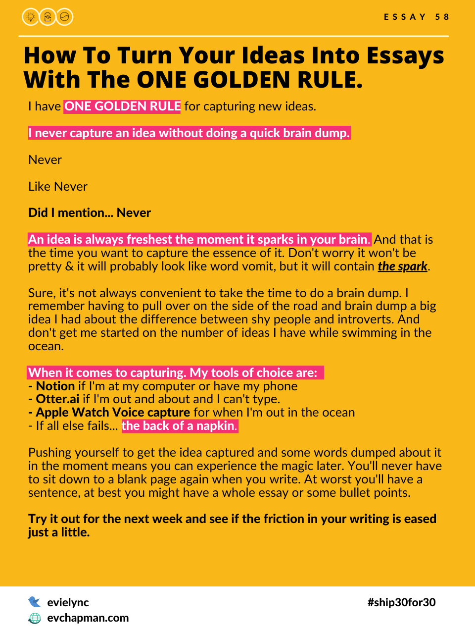 How To Turn Your Ideas Into Essays With One Golden Rule