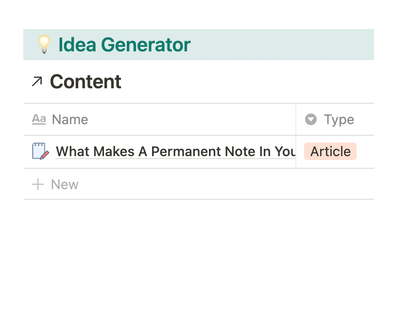 Generate new ideas into your content database directly from the template