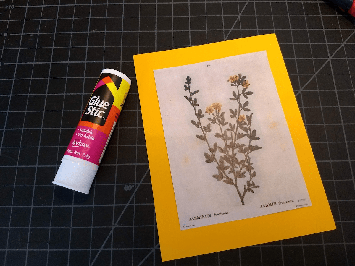 Glue the image to the craft paper.