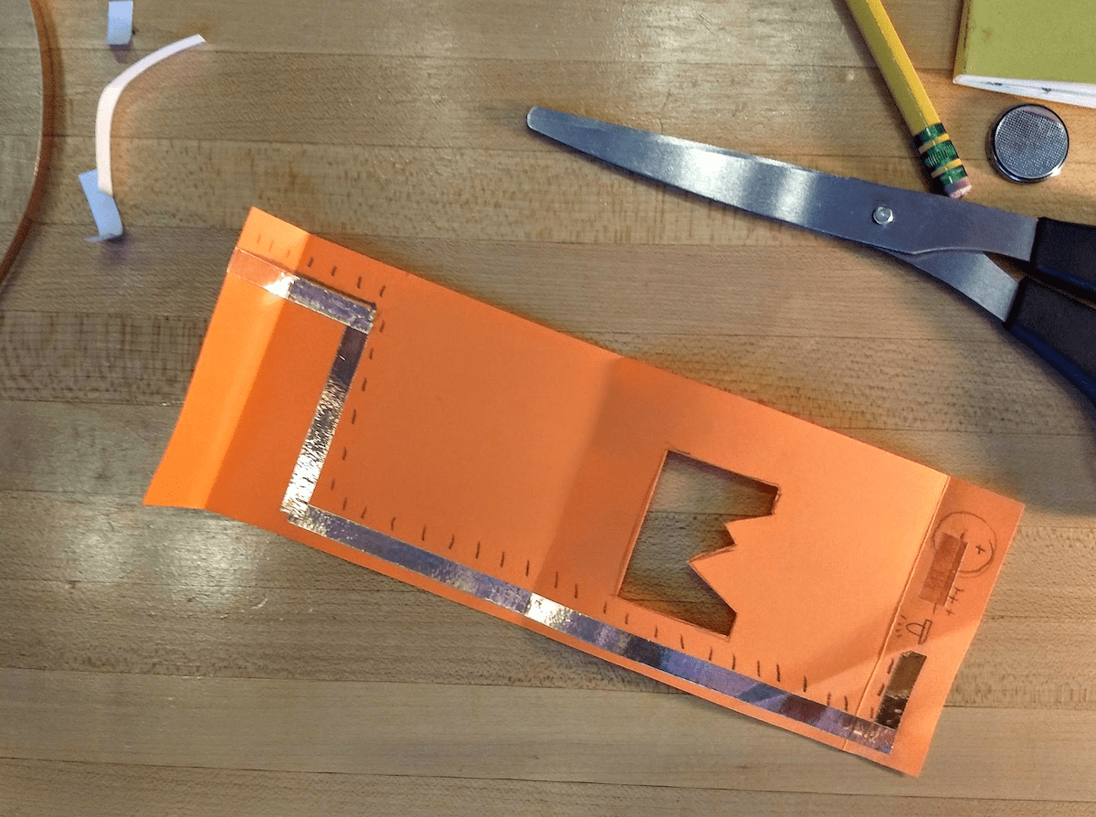 Finish the circuit with the copper tape...