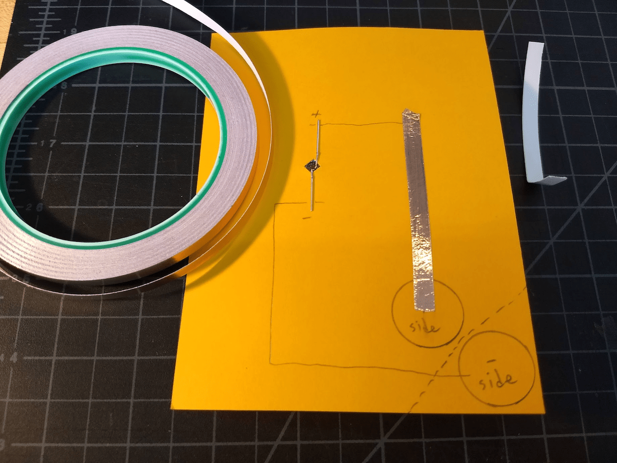 Start laying down the circuit with the copper tape.