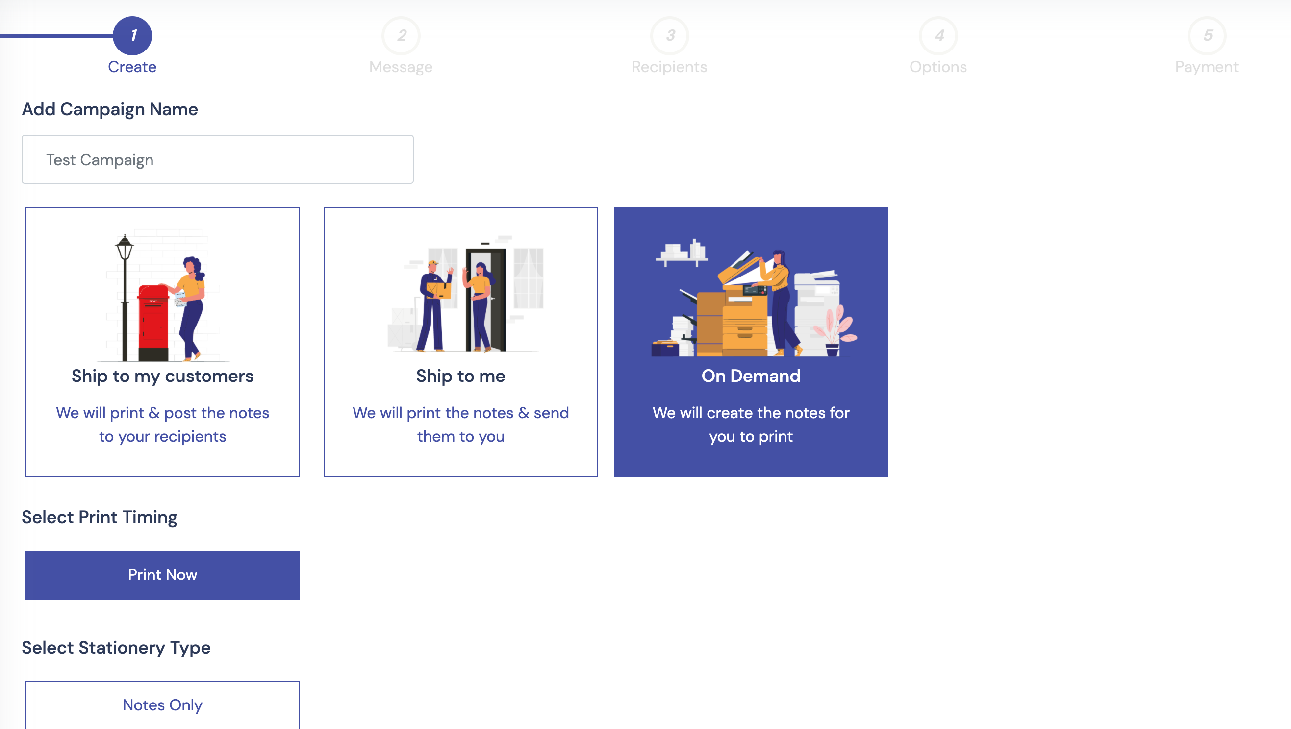 Select 'On Demand' when starting to create your campaign.