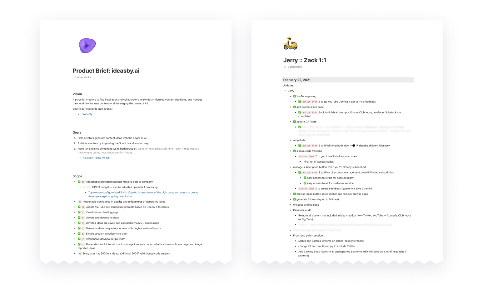 Real examples of a Product Brief (from a past product drop) and meeting notes. We value collaboration, clarity, documentation, and principled decision-making.