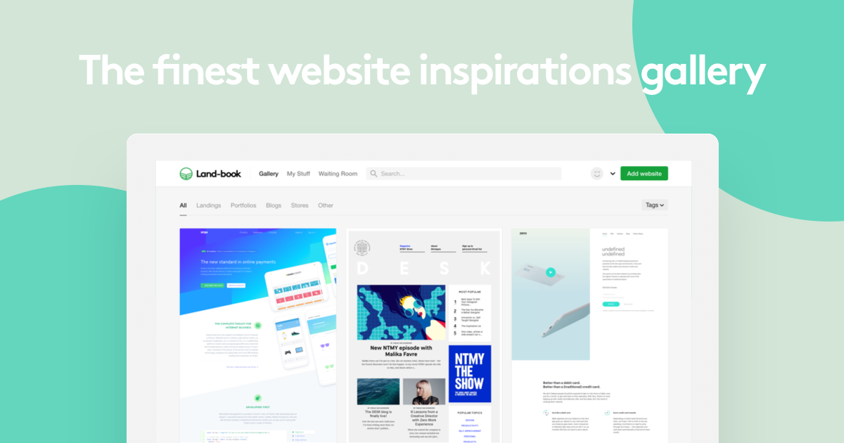 Land-book - the finest hand-picked website inspirations