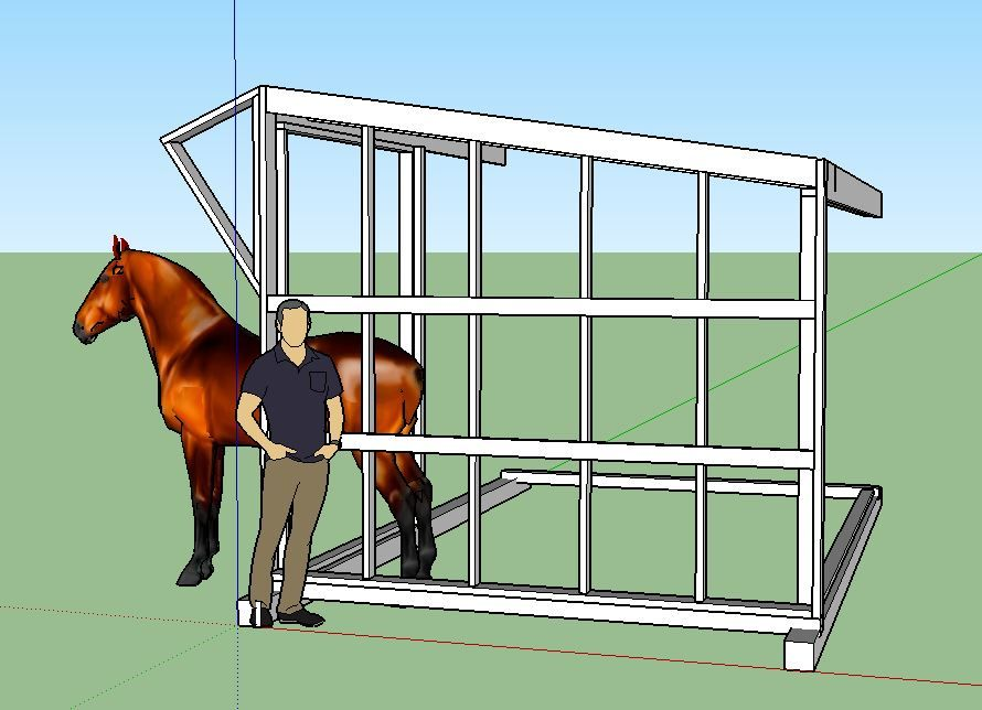 Partial mock up of a 10' x 15' frame with man and horse for size perspective.