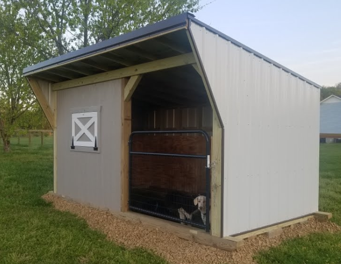 8' x 15' Style 3, painted wood tongue & groove front with drop down window.