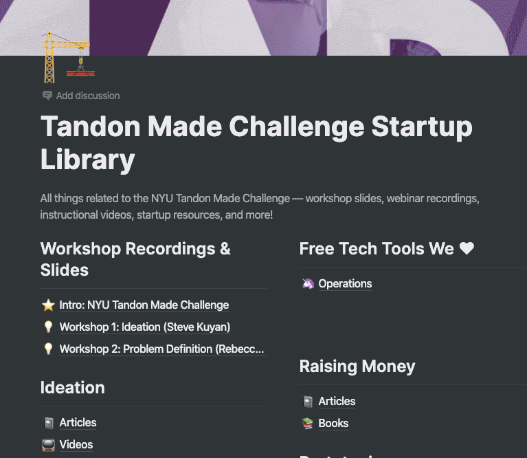 Tandon Made Challenge Startup Library