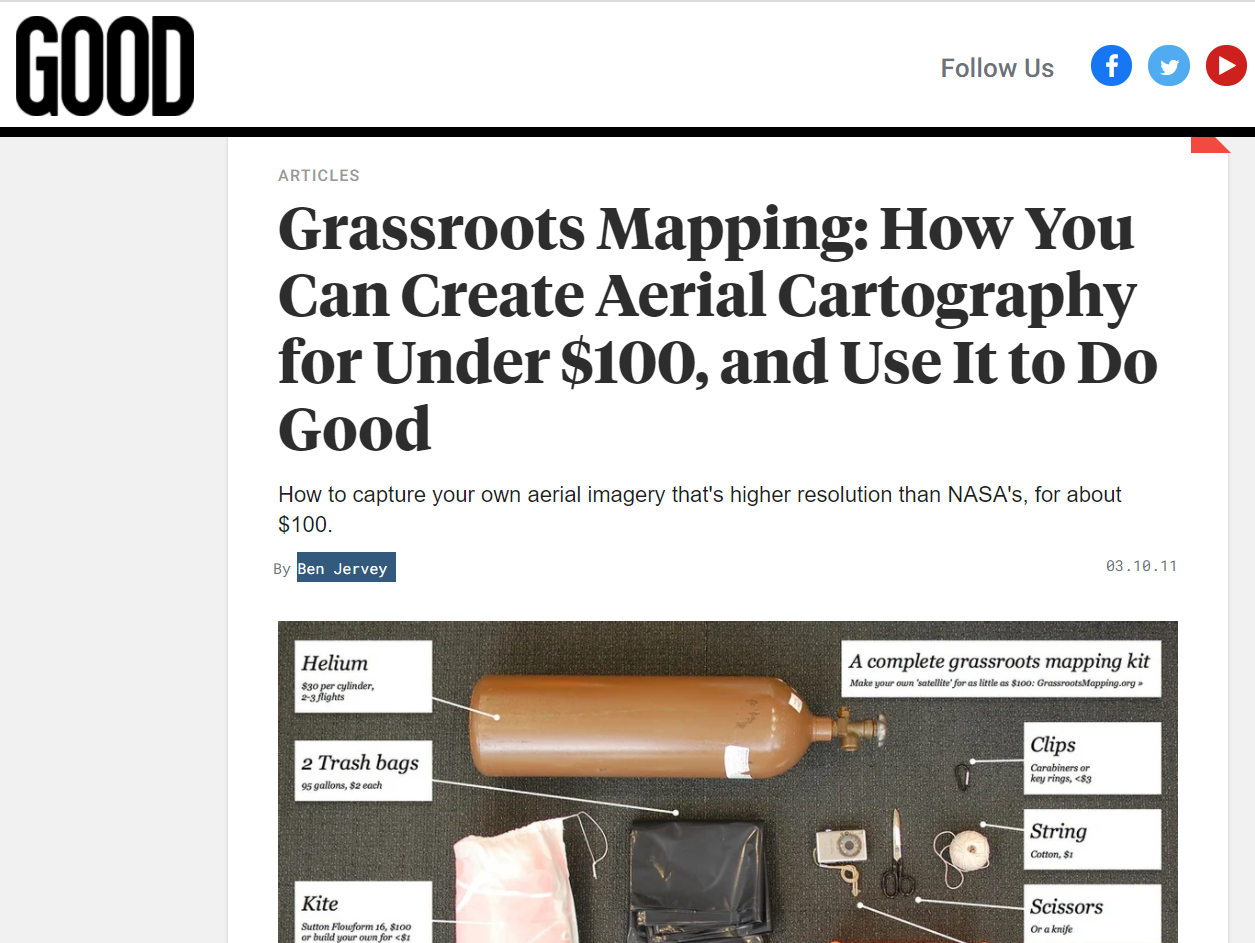Grassroots Mapping: How You Can Create Aerial Cartography for Under $100, and Use It to Do Good