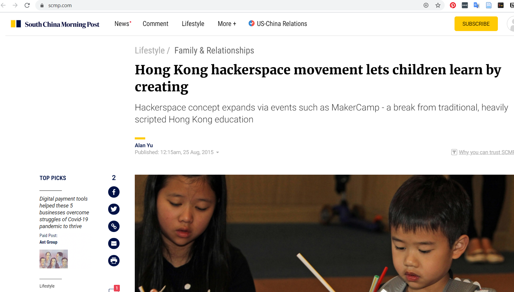 Hong Kong hackerspace movement lets children learn by creating