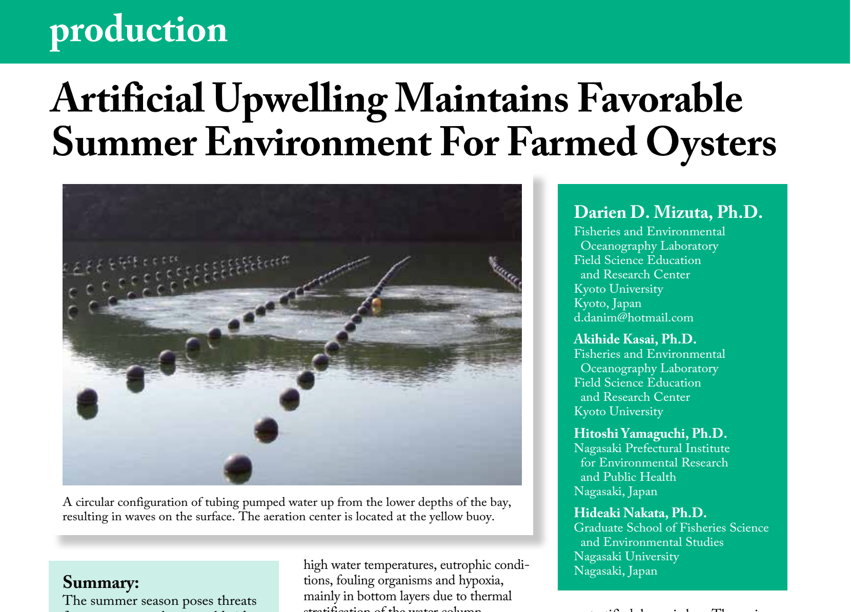 Artificial upwelling maintains favorable summer environment for farmed oysters