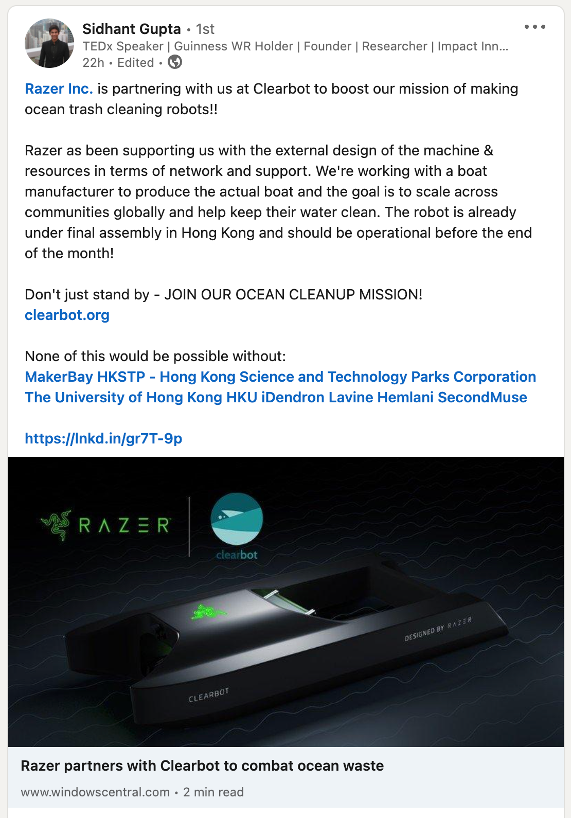 Clearbot Partners with Razer to build Ocean Cleaning Robots