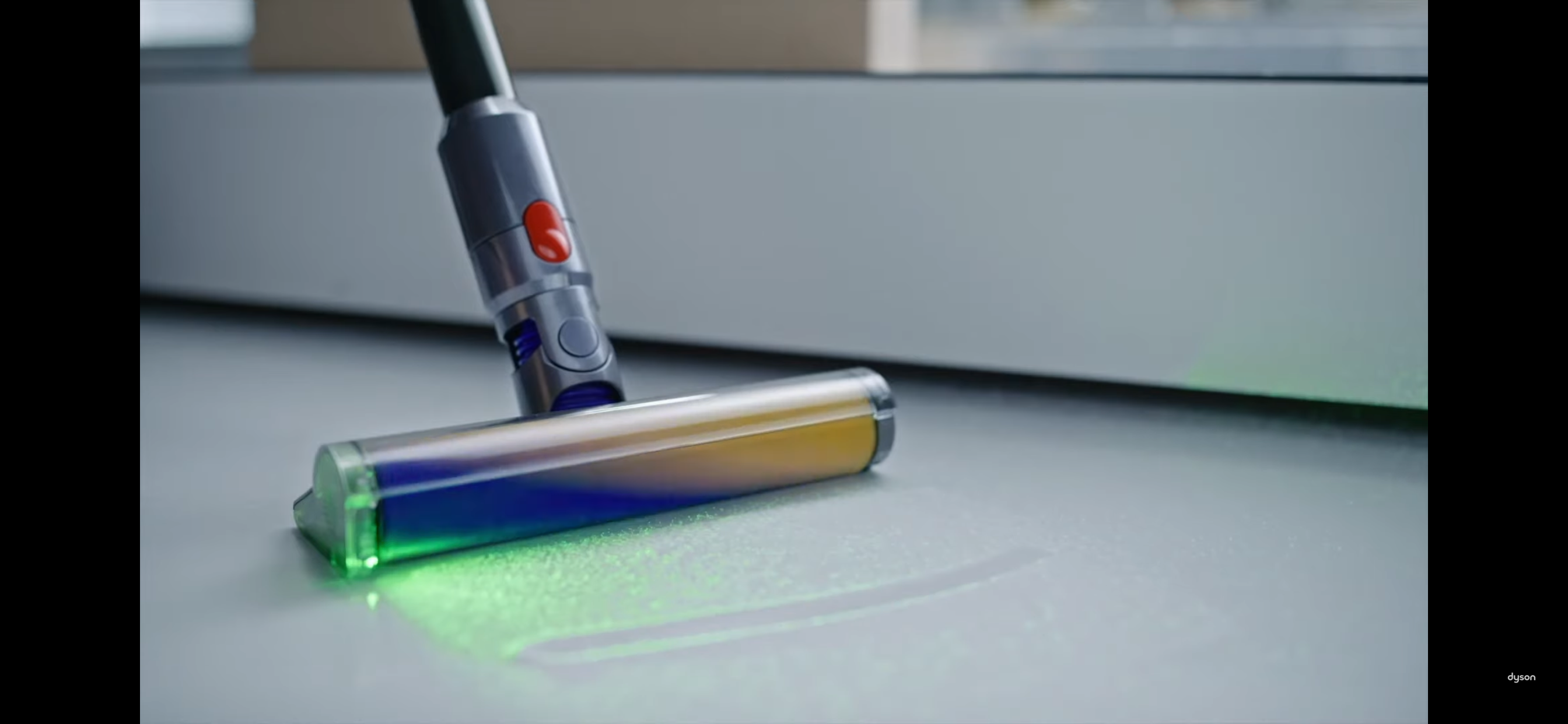 Dyson vacuum cleaner with carbon bristles and laser projector