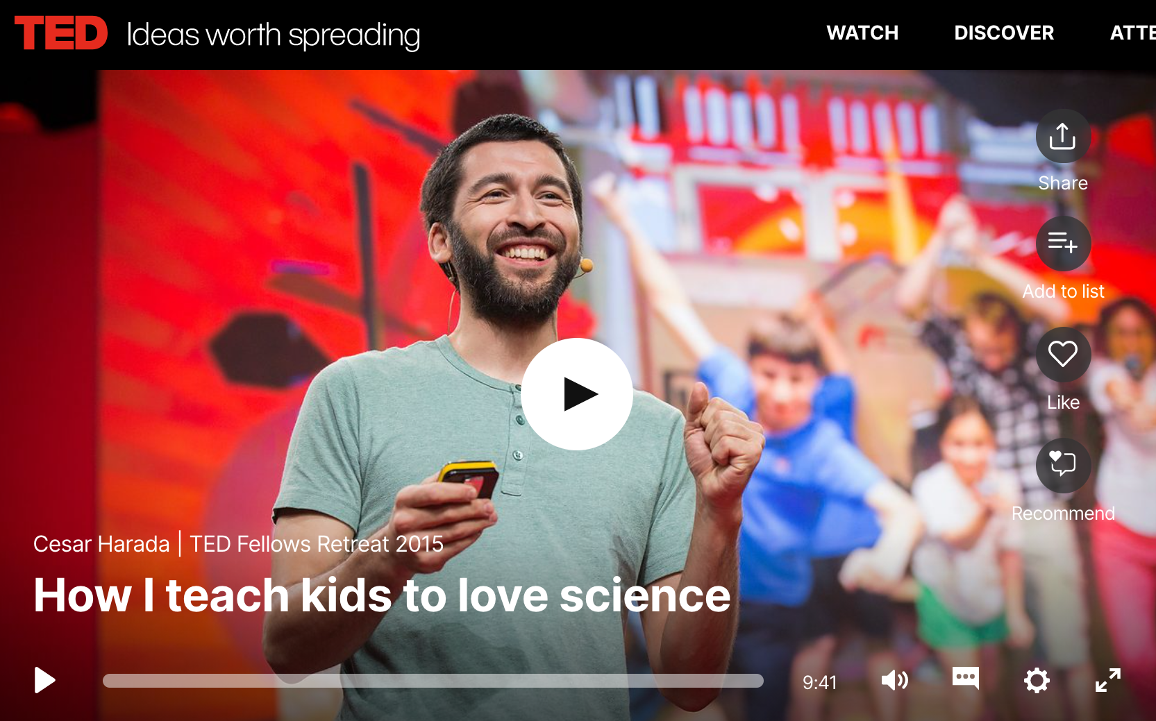 """TED Talk: """"How I teach kids to love science"""""""