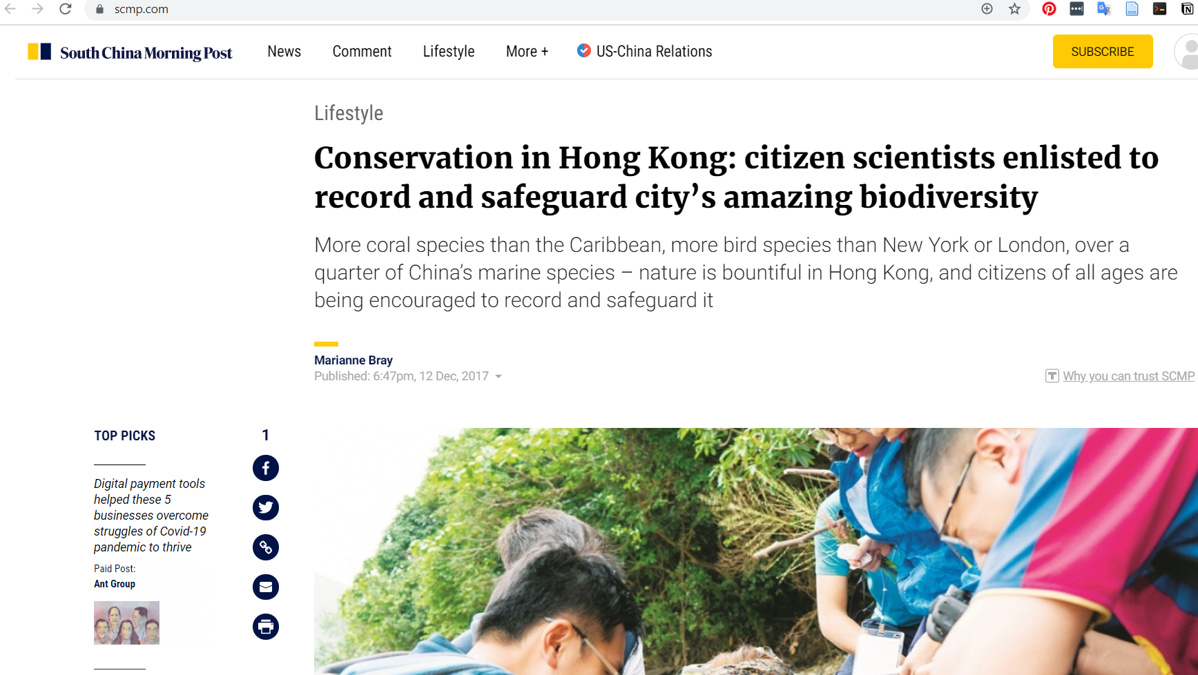 """""""Conservation in Hong Kong: citizen scientists enlisted to record and safeguard city's amazing biodiversity"""