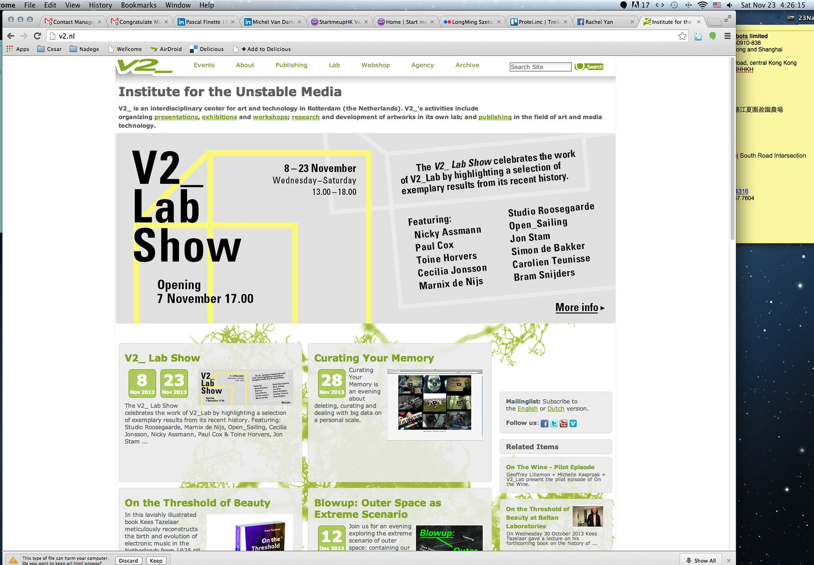 Protei & Open_Sailing - V2_ Lab Show 2013