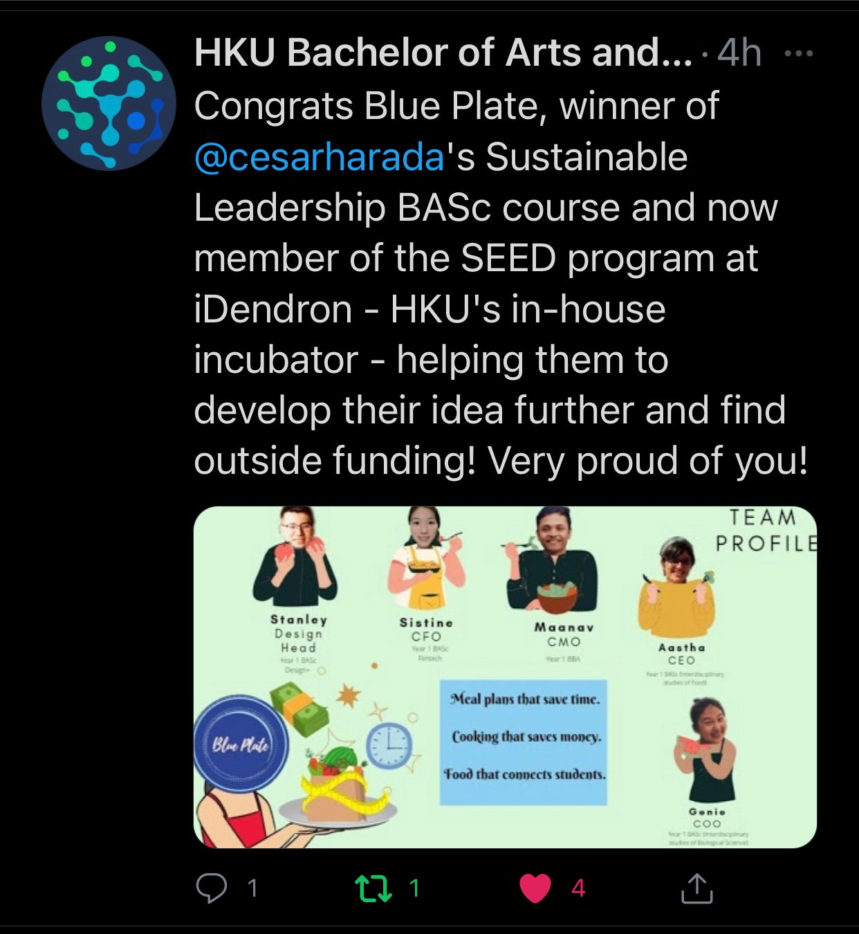 """Cesar's HKU students """"Blue Plate"""" selected by iDendron! Team Hulk Runner up of Hult prize!"""
