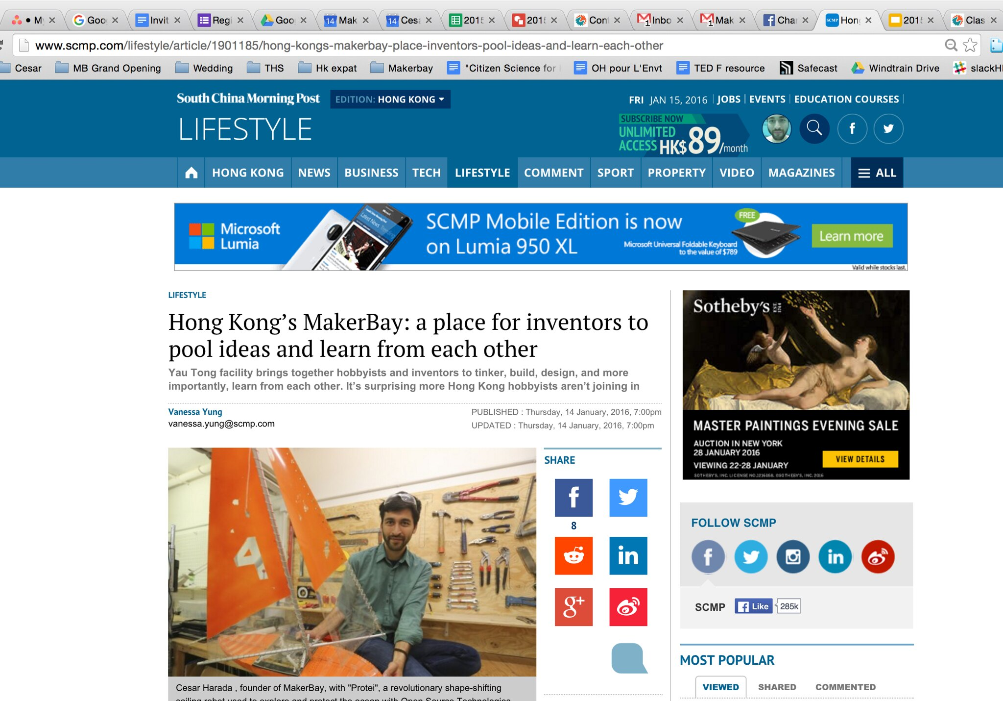 """""""Hong Kong's MakerBay: a place for inventors to pool ideas and learn from each other"""