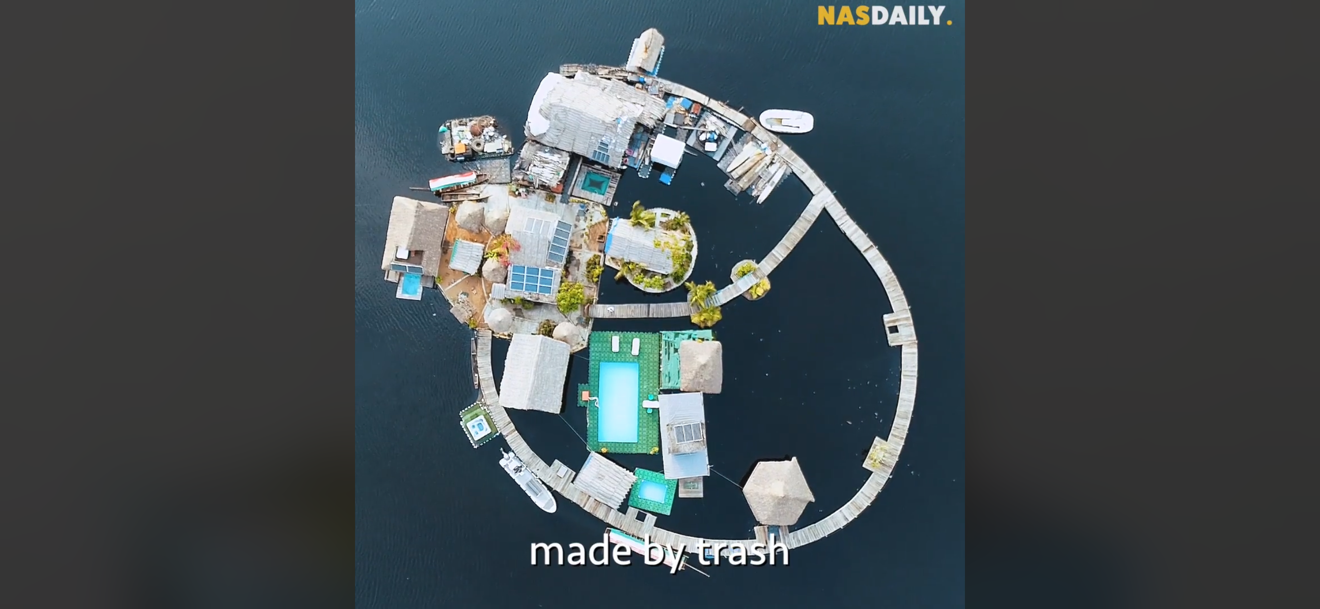 Floating hotel, Côte d'Ivoire, from trash