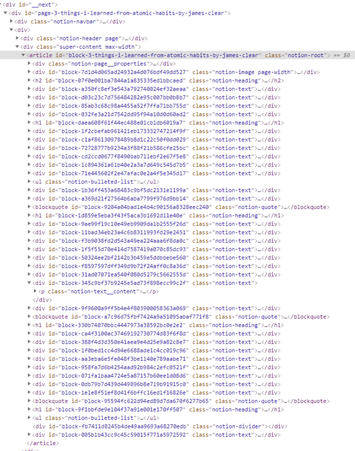 Screenshot of the inspected page using Google Chrome developer tools