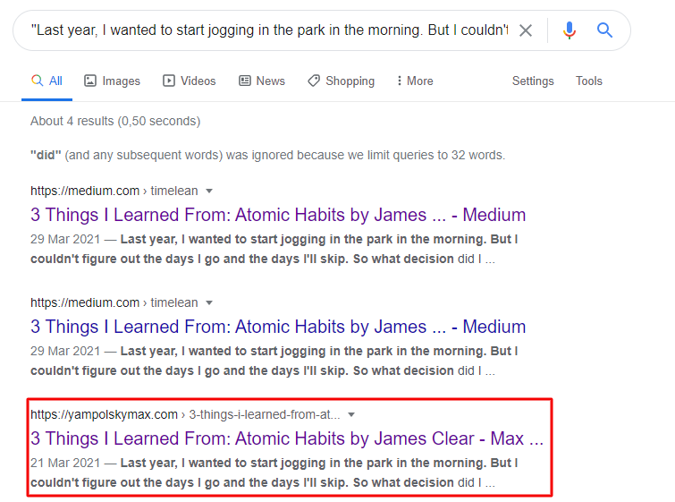 Screenshot of Google Search using article snippet