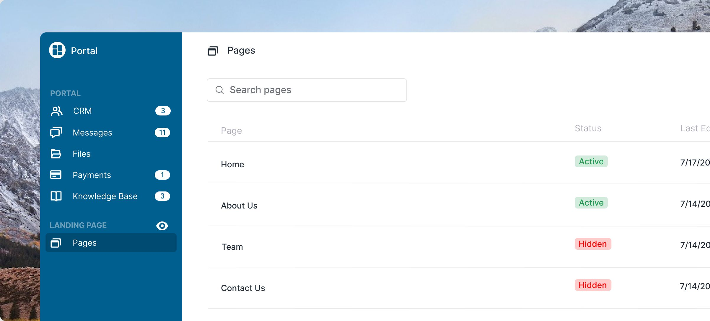 Choose the pages you want in your Landing Page