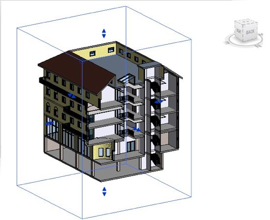 3D Section view cutting the model between grids 4 and 5