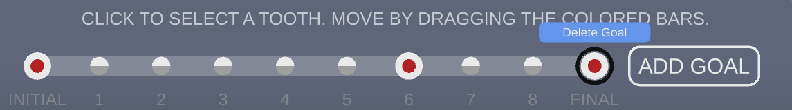 Treatment plan with a goal on stage 6. Clicking the center of a goal brings up the prompt to delete a goal.