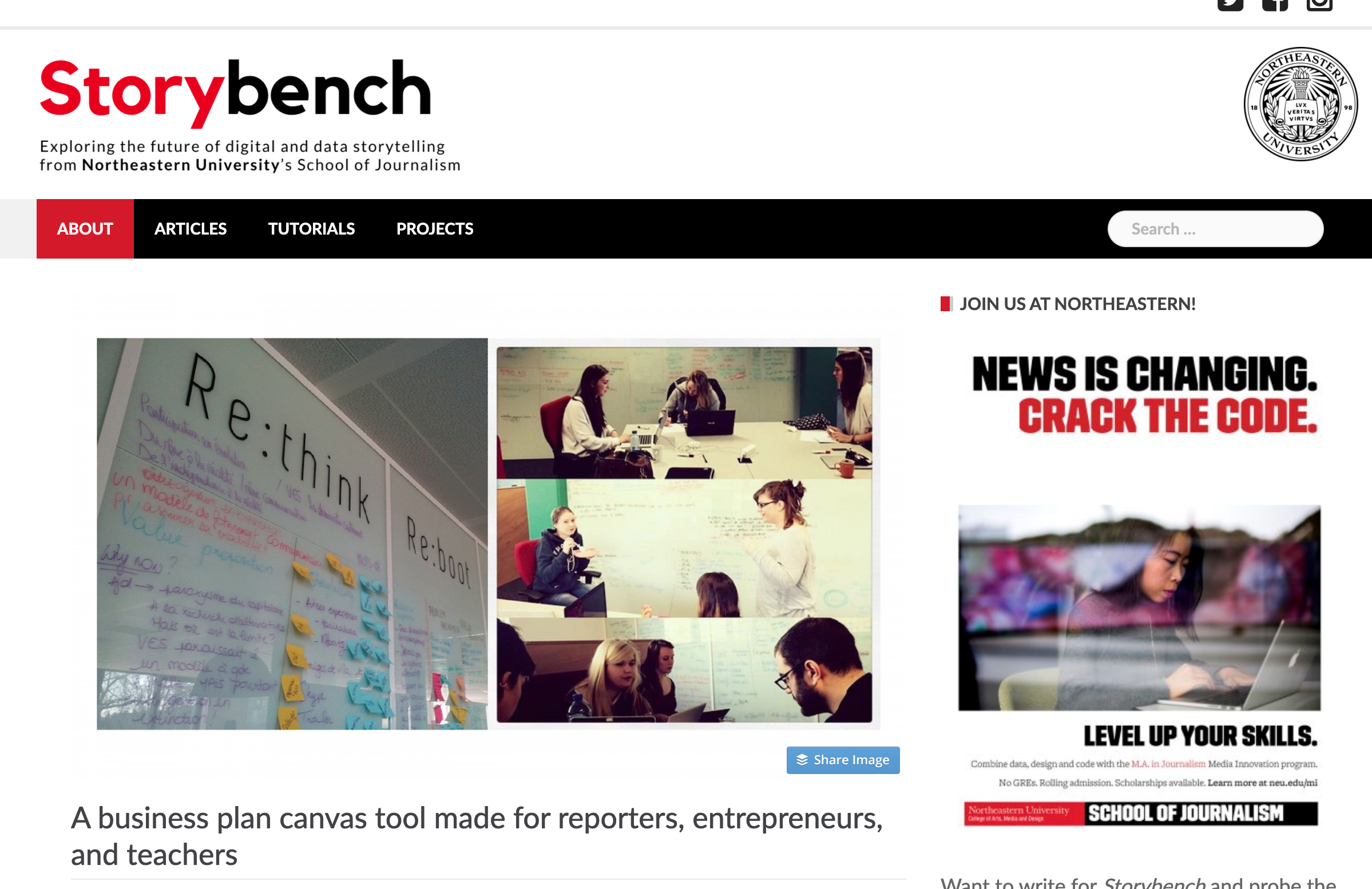 A business plan canvas tool made for reporters, entrepreneurs, and teachers