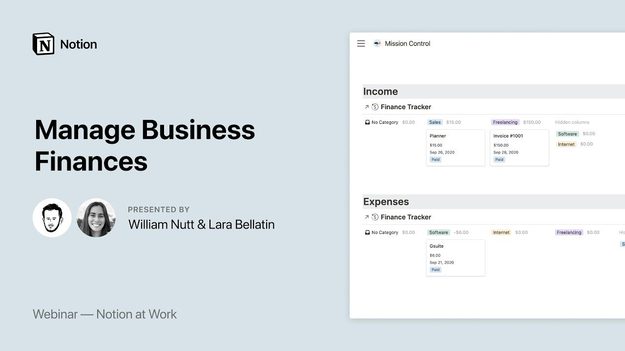 Notion at Work: Manage Business Finances