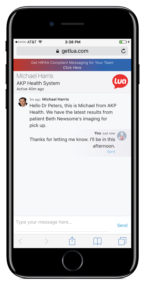 External, HIPAA compliant messages with no download needed.