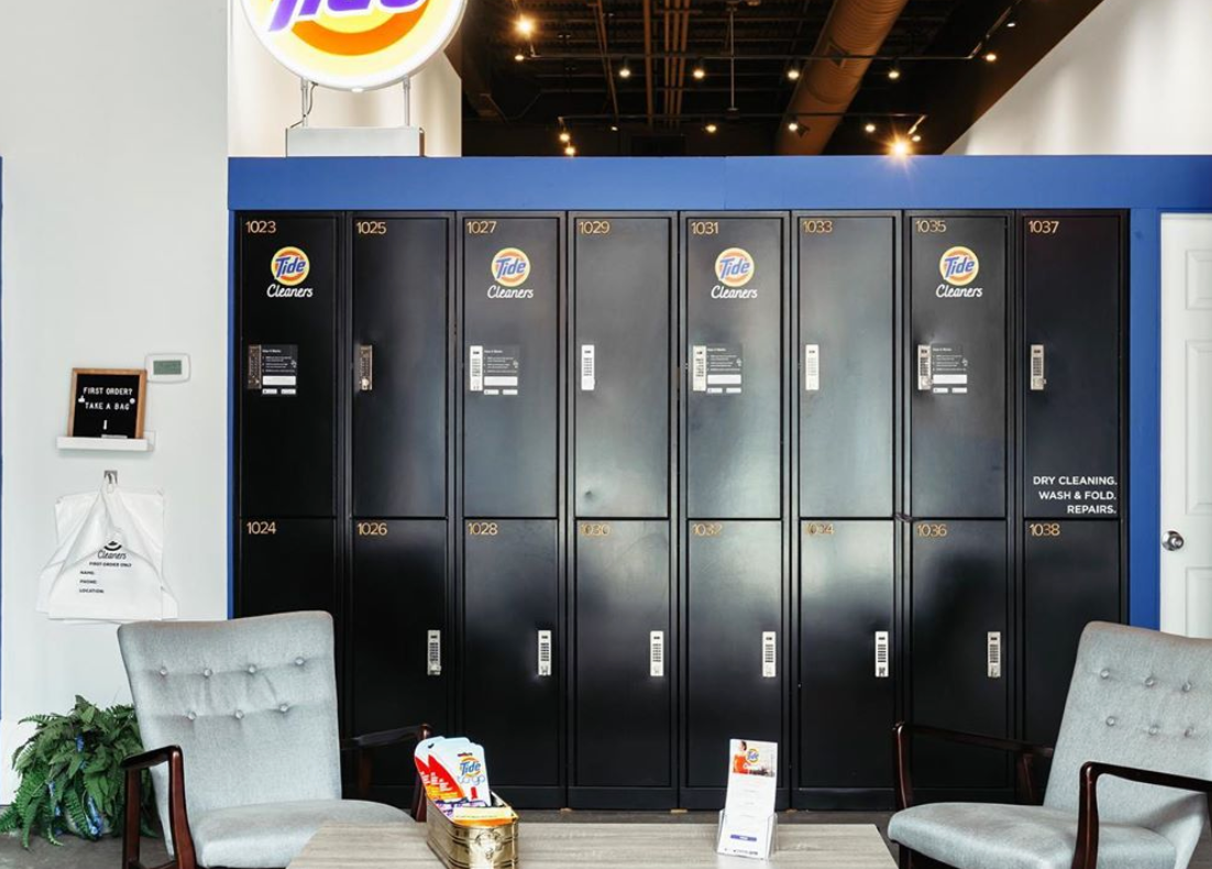 Lockers allow urban areas to access Tide Cleaners service conveniently and safely.