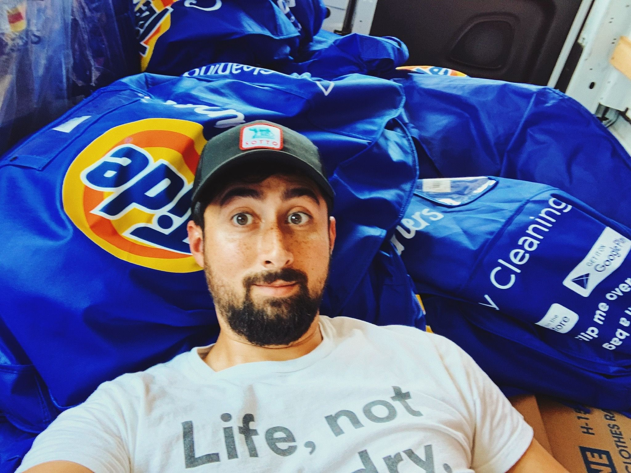 Slinging laundry with Tide Cleaners drivers to validate our driver application before launching.