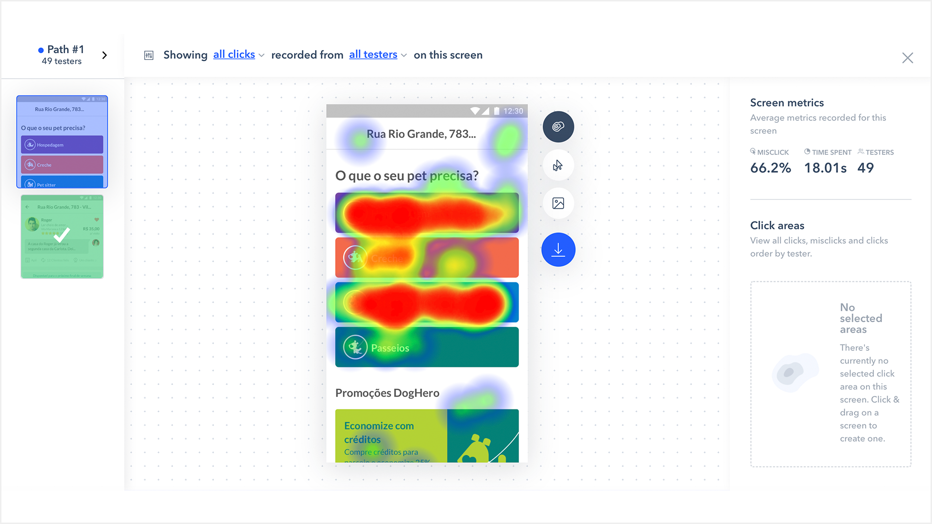 Remote usability test with heat maps