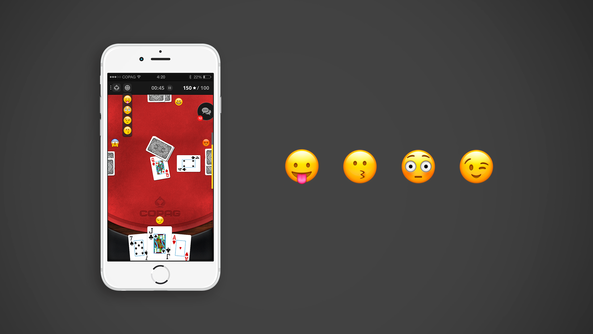 Emojis to represent AI playing reactions