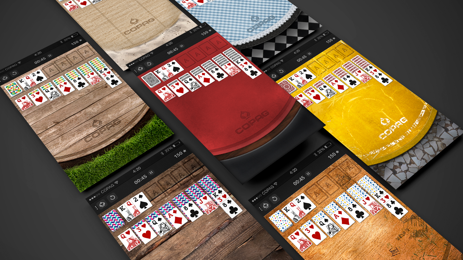 Different table skins to choose from