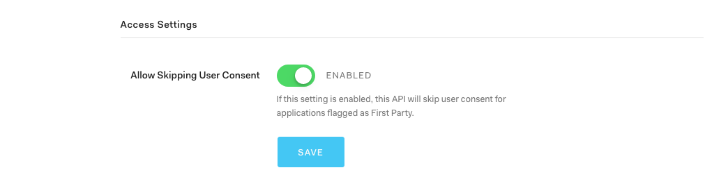 """Scroll to the bottom, enable """"Allow Skipping User Consent"""", and click """"Save""""."""
