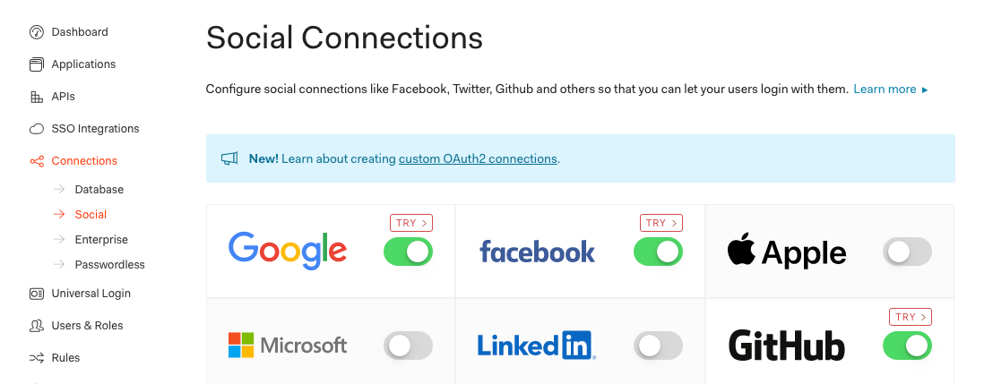 Toggle on the auth providers you'd like to enable. Your Divjoy codebase supports Google, Facebook, Twitter, and Github out of the box.