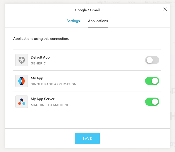 """In the settings window for each enabled auth provider to to the """"Applications"""" tab and enable for your application."""