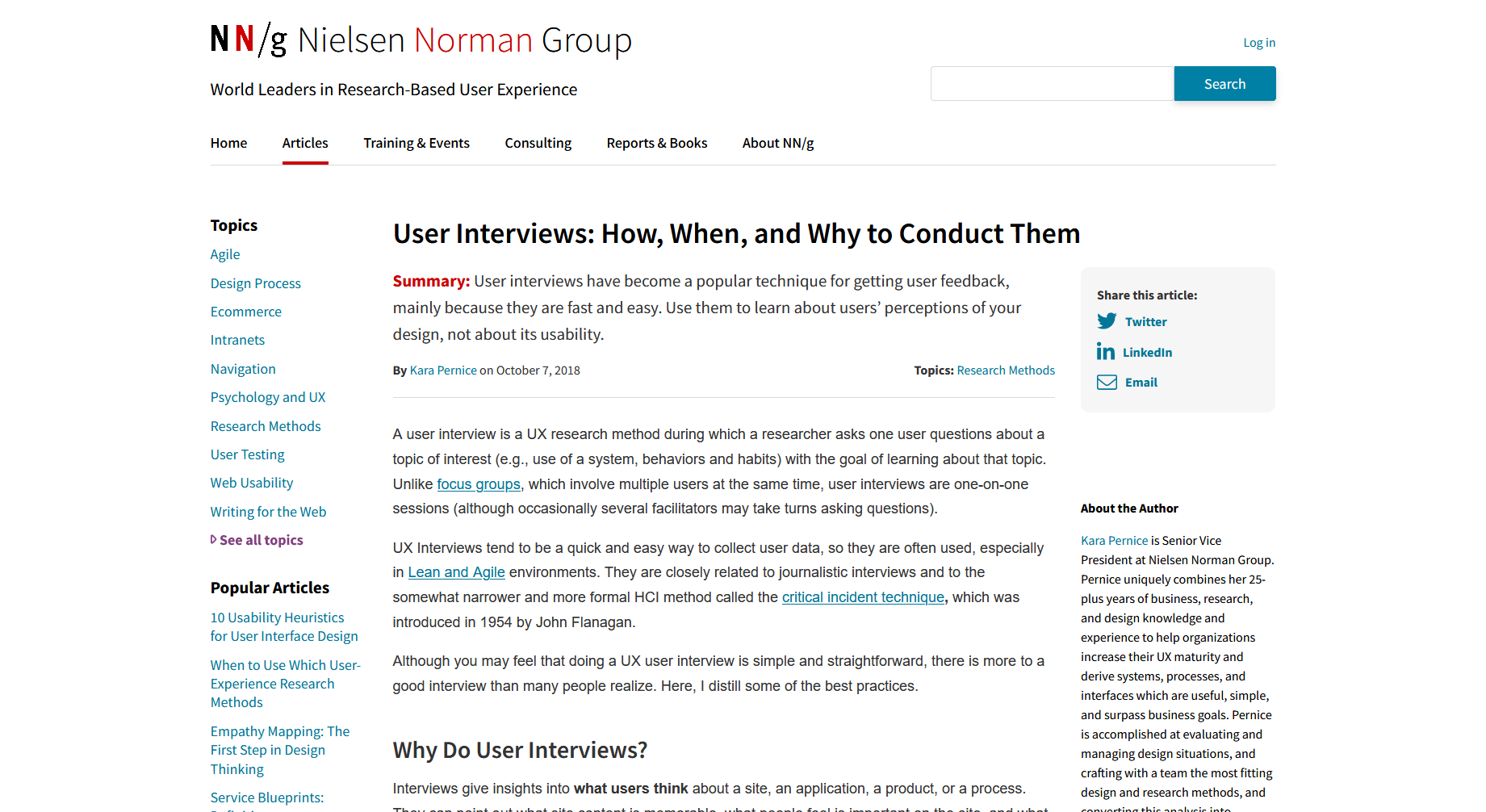User Interviews: How, When, and Why to Conduct Them — NN/g