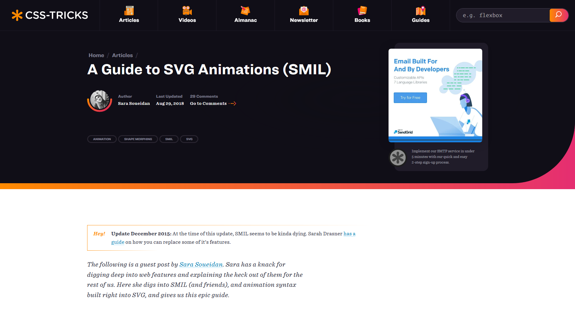 A Guide to SVG Animations (SMIL) — CSS Tricks